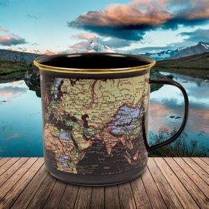 World Map Enamel Mug - Gifts For Travellers
