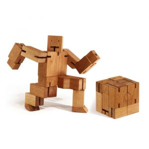 Cubebot Small - Wooden Robot Puzzle - Multi-Colour - Gifts For 7 Year Old Boys