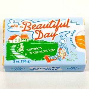 It's A Beautiful Day, Don't F*ck It Up - Gardenia & Orange Soap - Gifts Under $10