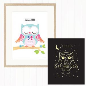 Nighty-Night Owl Glow-in-the-Dark Wall Art For Kids - 40x30cm - Gifts For 1 Year Old
