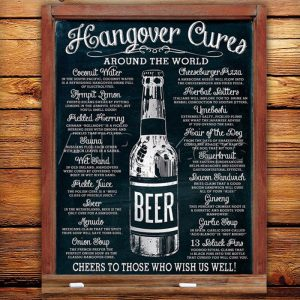 Hangover Cures Around The Globe Tin Sign - groomsmen gifts