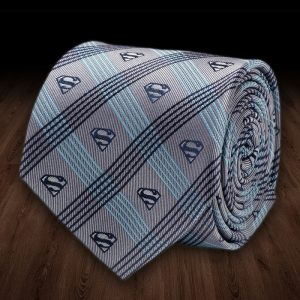 Superman Grey Plaid Italian Silk Tie | DC Comics - 80th birthday presents
