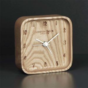 London Clock Company Wooden Blokk Alarm Clock - 80th Birthday Present Ideas