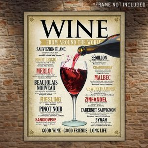 Wine From Around The World Retro Tin Sign - Gift Ideas For Your Girlfriend