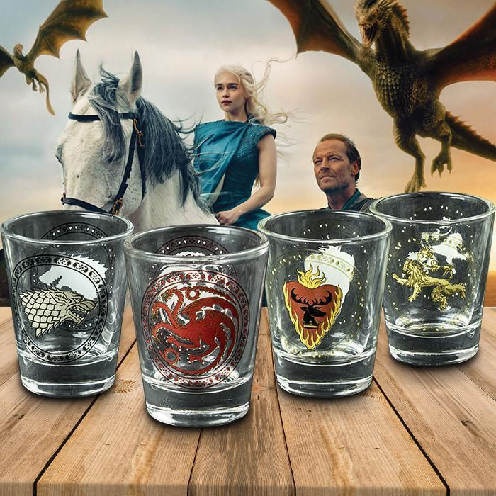 GAME OF THRONES - SET OF 4 HOUSE SIGIL SHOT GLASSES